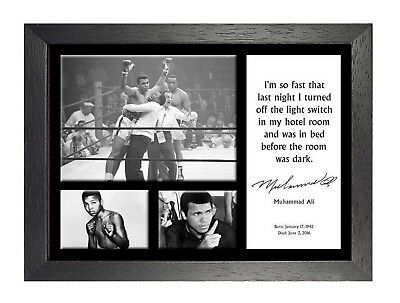 Muhammad Ali 10 Famous Quote Boxing Star Legend Signed Poster Black White Photo
