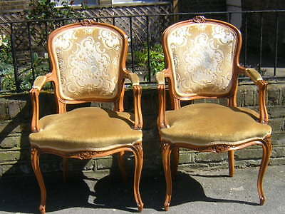 Pair Of French Louis Xv Style Vintage Armchairs