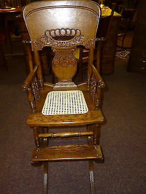Antique Oak High Chair / Rocker Pressed back / cane seat Childs Made in USA
