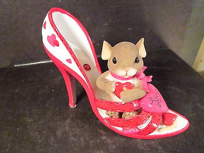 Charming Tails YOU'RE A LOVING SOLE Mouse High Heeled Shoe Hearts 84/138
