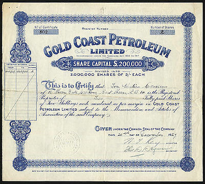 GOLD COAST, Gold Coast Petroleum, Ltd., 2/- shares, 1927
