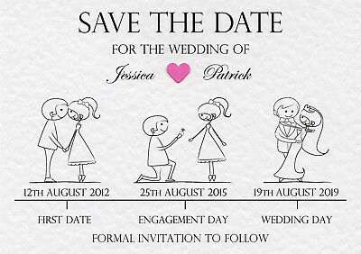 50 Personalised Wedding Save the Date Cards and Envelopes