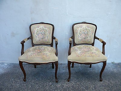 PAIR OF FRENCH CARVED LIVING ROOM TAPESTRY SIDE BY SIDE CHAIRS BY NAJARIAN #6103