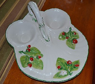 Unique Serving platter, Made in Italy, Hand Painted, Leaves and Strawberrys