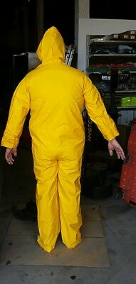 NEW Yellow PVC/Polyester FULL COVERALL rain gear suit 35mm hooded L-XL unisex