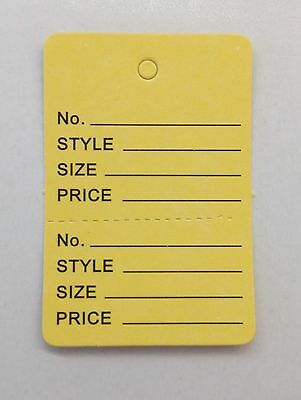 1000 Yellow Clothing Consign Tag Perforated Unstrung Price Merchandise Store Tag