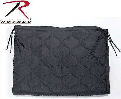 """Black Military Style Rip-Stop Poncho Liner With Ties - 62"""" x 82""""  Rothco 8375"""
