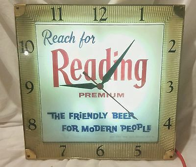 Reading Premium Beer Lighted Clock Sign Reading, PA