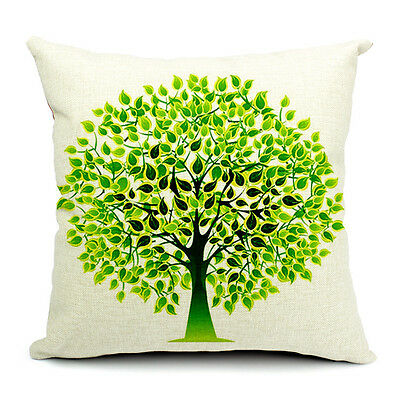Vintage Linen Cotton Couch Sofa Cushion Cover Throw Pillow Green Tree 45X 45 cm