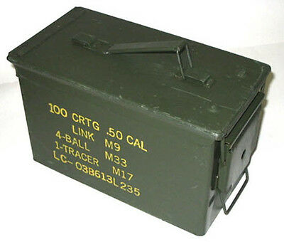50 CAL Ammo Box Ammunition Steel Box Tool Box Ex Army Used