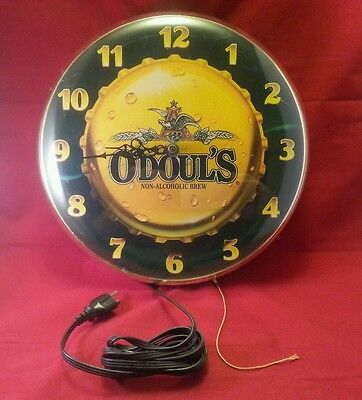 Vintage Anheuser Busch O'Doul's Beer Lighted Clock Sign 1993 -22 Years Old