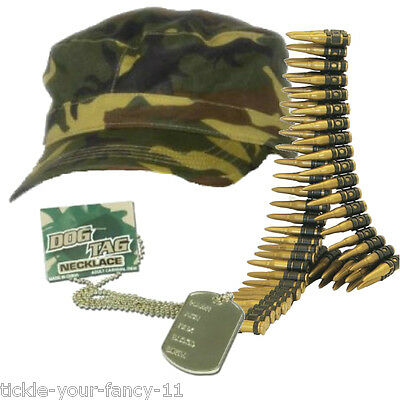 Womens Girls Army Soldier Kit Cap Bullet Belt Dog Tag Set Fancy Dress Camouflage