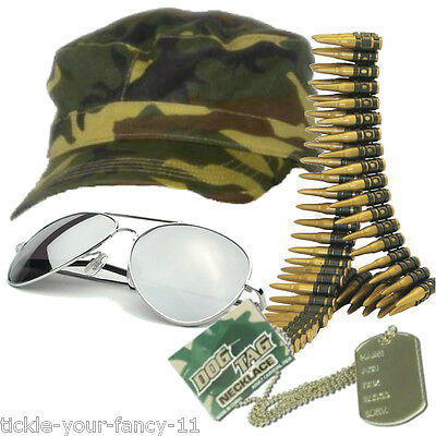 Womens Army Soldier Kit Cap Bullet Belt Dog Tag Glasses Fancy Dress Camouflage