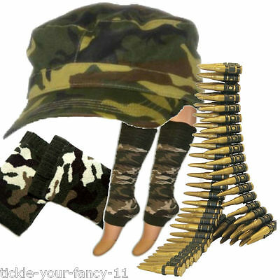 Womens Army Soldier Kit Cap Bullet Leg Warmers Wristbands Fancy Dress Camouflage