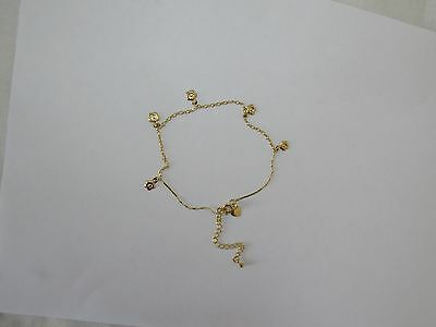 9ct Gold Filled Flower Charm Anklet 9.5 Inches A47