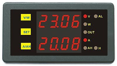 Programmab Over Limit Protection DC 0-200V 500A Combo Meter Voltage Amp Power Ah
