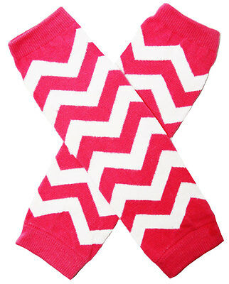 NEW! Hot Pink White Chevron Print Cotton Legwarmers 0-6 Years
