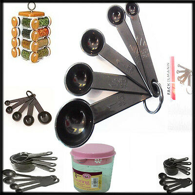 5* Measuring Spoons Fackelmann Black Plastic Kitchen Set Cooking Baking Scoops