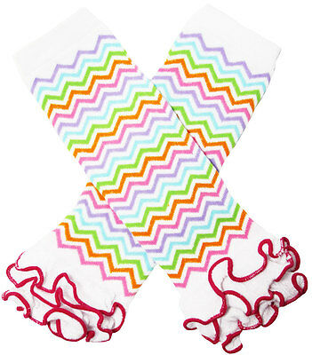 NEW! White Pastel Rainbow Chevron Print Cotton Legwarmers with Ruffles 0-6 Years