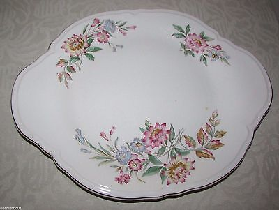 1946 Edwin Knowles Pink and Blue Flower China Platter Pattern KNO272