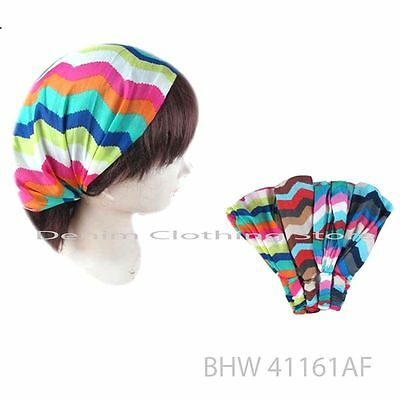 Lot Of 6 Paisley Zigzag print Women W/ Elastic Back HEADBAND Hair Band Head Wrap
