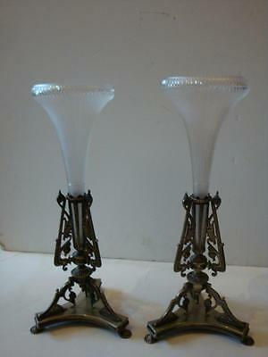PAIR FROSTED GLASS DECO PATINA FLORAL CENTERPIECES CIRCA 1870