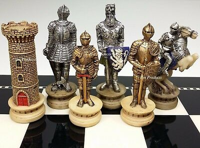 MEDIEVAL TIMES CRUSADES WARRIOR Gold & Silver Chess Men Set - NO BOARD