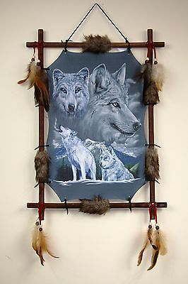 Wolf Picture Dream Catcher Wall Hanging Canvas 16 x 22 Beads Feathers Framed