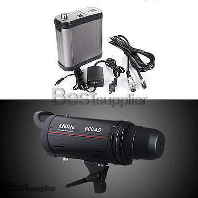 110v 600W Dual Power Mettle Monolight Flash Strobe Light AC/DC with Battery Pack