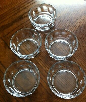 "Arcoroc ""Petale"" (5) Ea. Glass Berry Bowls Ice Cream/Salad Bowls ~Made in France"
