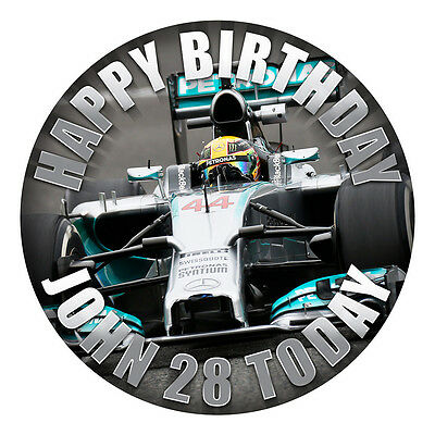 """Formula One F1 Cake Topper Edible 7.5"""" Personalised Hi-Res Wafer/Icing"""