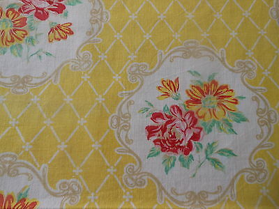 Antique Vtg. French Cottage Cameo Roses Medallion Fabric ~yellow pink red jadite