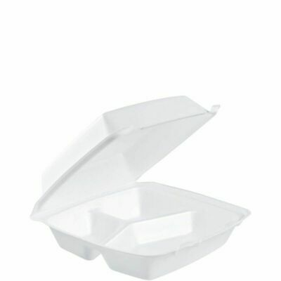 Dart 3 Section Take Out Containers 200 pk Large Foam Hinged To Go Styrofoam