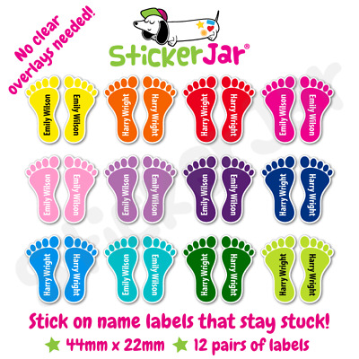 12 Pairs Personalised Shoe Name Labels Tags Stickers Feet for School Shoes NL15
