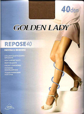 2 Pares de medias panty, collant, tights relax GOLDEN LADY REPOSE 40d 4-L marrón