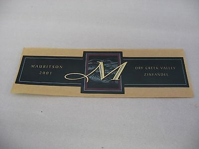 Wine Label: MAURITSON 2001 Zinfandel Dry Creek Valley California