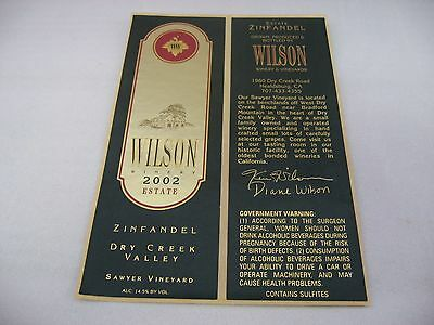 Wine Label: WILSON 2002 Zinfandel Dry Creek Valley California