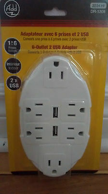 6 Wall sockets outlet  with 2 USB charger