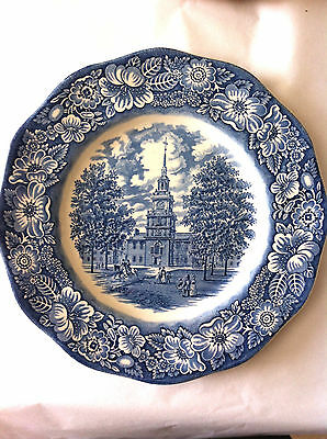 """Collector Plate  Made In England Blue White  10""""' Independence Hall Liberty Blue"""