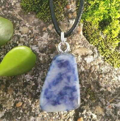 SODALITE Crystal Gemstone WEIGHT LOSS ~ ANXIETY Tumbled Stone Necklace Pendant