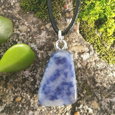 Sodalite Crystal Healing Tumbled Stone Aid Weight Loss Gemstone Pendant Necklace