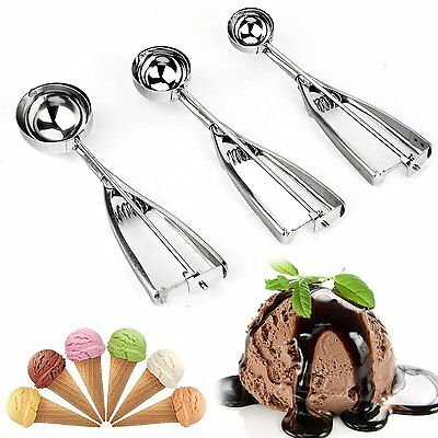 3Pcs Ice Cream Spoon Stainless Steel Spring Handle Masher Cookie Scoop