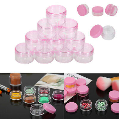 10 Pieces Clear Plastic Cosmetic Sample Container 5g Jars Pot Small Empty Pink