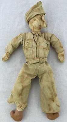 "Vintage Cloth World War 1 WW1 US Soldier 17"" Plush Doll United States Army Navy"