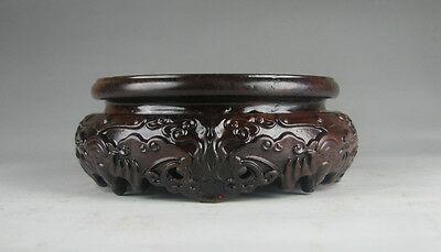 """New China Hei-zhi wood rosewood flower round stand display for bottle vase 4.6"""""""