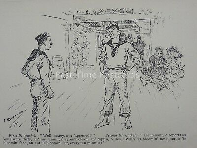 Royal Navy & Sailor BLUEJACKET - WELL MATEY WOT APPENED? Antique Punch Cartoon