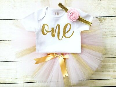 First 1st Birthday Boutique Tutu Set Baby & Girl Pink Gold Glitter Party Outfit