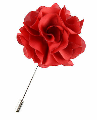 Mens Red Rosette Lapel -Flower Blazer Pin- Wedding Prom Corsage Gift Boutonniere