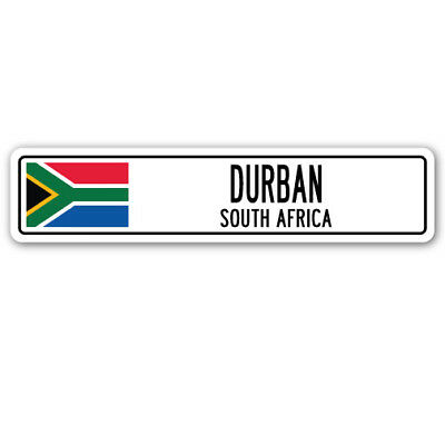 DURBAN, SOUTH AFRICA Street Sign South African flag city country road wall gift