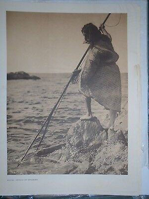 """Nootka Spearing by Edward S. Curtis - Original large 14 X 18"""" photogravure"""